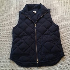 Small J Crew Navy Blue Puffer Feather Quilted Vest